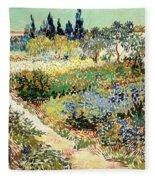 The Garden At Arles, 1888 Fleece Blanket