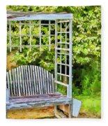 The Garden Bench In Spring  Fleece Blanket