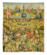 The Garden Of Earthly Delights Allegory Of Luxury, Central Panel Of Triptych, C.1500 Oil On Panel Fleece Blanket