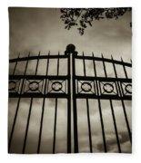 The Gate In Sepia Fleece Blanket