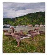 The Geese Of St Goar Am Rhein Fleece Blanket