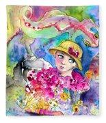 The Girl And The Lizard Fleece Blanket