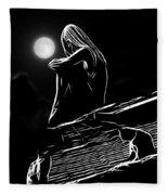 The Girl On The Roof Fleece Blanket