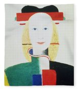 The Girl With The Hat Fleece Blanket