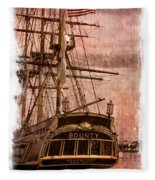 The Gleaming Hull Of The Hms Bounty Fleece Blanket