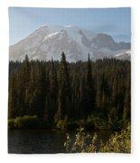 The Glow Of Mount Rainier Fleece Blanket