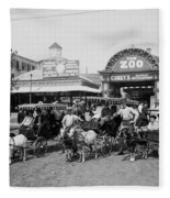 The Goat Carriages Coney Island 1900 Fleece Blanket