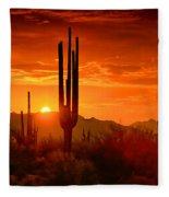 The Golden Southwest Skies  Fleece Blanket