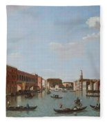 The Grand Canal And San Geremia, Venice, 18th Century Fleece Blanket
