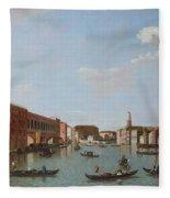 The Grand Canal And San Geremia, Venice, 18th Century Fleece Blanket
