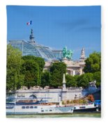 The Grand Palais And The Alexandre Bridge Paris Fleece Blanket