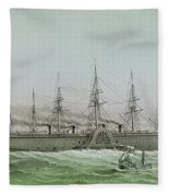 The Great Eastern Laying Electrical Cable Between Europe And America Fleece Blanket