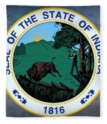 The Great Seal Of The State Of Indiana  Fleece Blanket