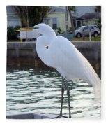 The Great White Egret Fleece Blanket