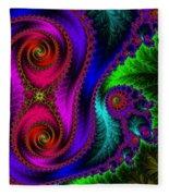 The Green Leaf Fractal Fleece Blanket