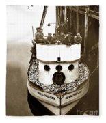 The Happy Crew Of The Fishing Boat  Geraldine- Ann Monterey California 1939 Fleece Blanket