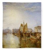 The Harbor Of Dieppe Fleece Blanket