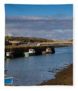 The Harbour At Hayle Cornwall Fleece Blanket