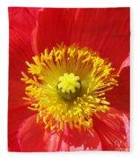 The Heart Of A Red Poppy Fleece Blanket