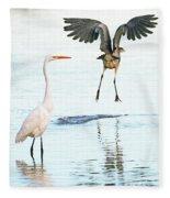 The Heron With The Bird Face Butt. Fleece Blanket