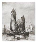 The Herring Fleet, Scarborough Fleece Blanket