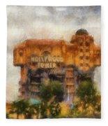 The Hollywood Tower Hotel Disneyland Photo Art 02 Fleece Blanket