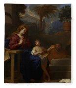 The Holy Family In Egypt Fleece Blanket