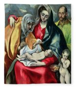 The Holy Family With St Elizabeth Fleece Blanket