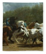 The Horse Fair Fleece Blanket