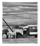 The Horses And The Welding Truck Fleece Blanket