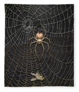 The Hunter And Its Pray - A Gold Fly Caught By A Gold Spider Fleece Blanket