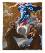 The Immaculate Conception With Saints Francis Of Assisi And Anthony Of Padua Fleece Blanket