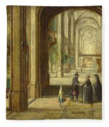 The Interior Of A Gothic Church Looking East Fleece Blanket