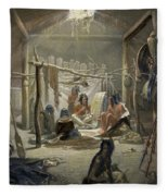 The Interior Of A Hut Of A Mandan Chief Fleece Blanket