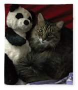 The King Kitty And Panda 01 Fleece Blanket
