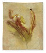 The Lady And The Parrot Tulip Fleece Blanket