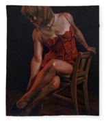 The Lady In Red Fleece Blanket