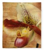The Lady Slipper Orchid Fleece Blanket