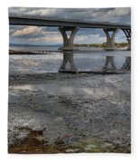 The Lake Champlain Bridge From Cown Point Fleece Blanket