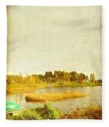 The Lake In Autumn Fleece Blanket