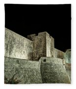 The Landside Walls Of Dubrovnik At Night No1 Fleece Blanket