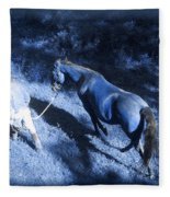 The Light And Shadows Of A Man And His Horse Fleece Blanket