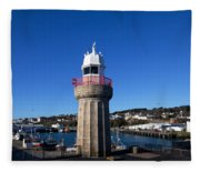 The Lighthouse And Fishing Harbour Fleece Blanket