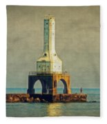 The Lighthouse And The Fisherman Fleece Blanket
