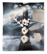 The Lighthouse And The Fishermans Tale Fleece Blanket