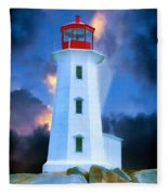 The Lighthouse At Peggys Cove Fleece Blanket