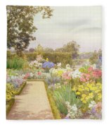 The Lily Border At Great Tangley Manor Fleece Blanket