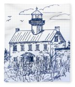 The Lines Of East Point Light In Blue Fleece Blanket