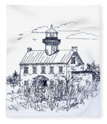 The Lines Of East Point Lighthouse In Blue 2 Fleece Blanket