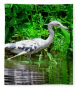 The Little Blue Heron Fleece Blanket